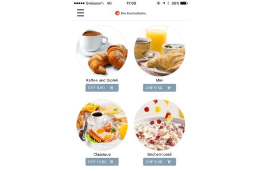 """Die neue App """"BistroOrder"""" (Bild: zb Zentralbahn AG)"""
