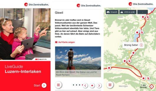 """Mit der neuen Zentralbahn App """"LiveGuide"""" steht Gästen ein digitaler Reisebegleiter zur Verfügung. (Bild: zb Zentralbahn AG)"""