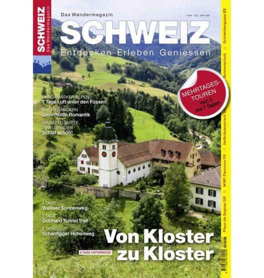 Cover Wandermagazin SCHWEIZ, Ausgabe 7/2016 (Bild: obs/Wandermagazin SCHWEIZ/Toni Kaiser)