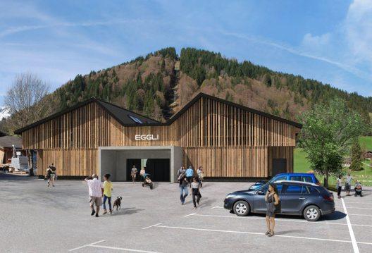 Visualisierung der Talstation Eggli – Seilbahnhersteller Bartholet (10er-Gondelbahn design by Porsche Design Studio) (Bild: Bergbahnen Destination Gstaad AG)