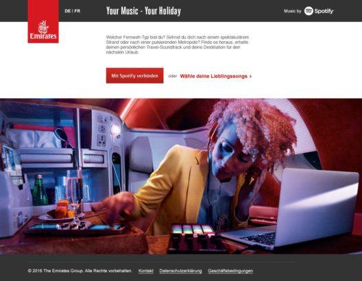 Emirates und Spotify kooperieren - mit einem Tool für Reiseziel-Wahl nach dem Musikgeschmack. (Bild: © Emirates)