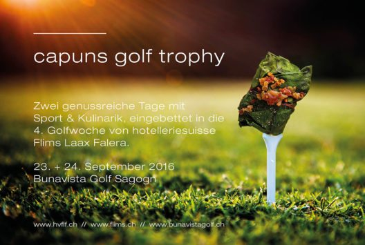 """Die zweitägige """"Capuns Golf Trophy"""" mit abschliessendem Dine-Around verbindet Sport und Genuss auf perfekte Weise. (Bild: © hotelleriesuisse Flims Laax Falera)"""