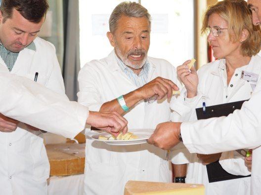 """Die Bewertung der eingereichten Käse übernahmen """"Käse-Experten"""" aus Industrie, Handel und Ausbildung."""