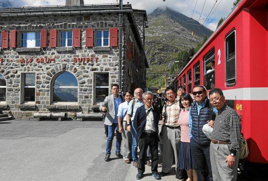Japanische Delegation auf Alp Grüm, Bernina Region (Bild: © Rhätische Bahn AG)