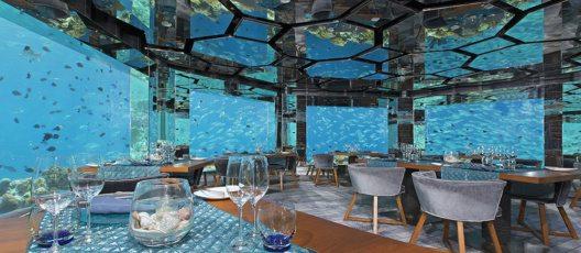 Panorama_SEA Fire Salt Sky Unterwasser-Restaurant mit Weinkeller (© Anantara Kihavah Villas, Malediven)