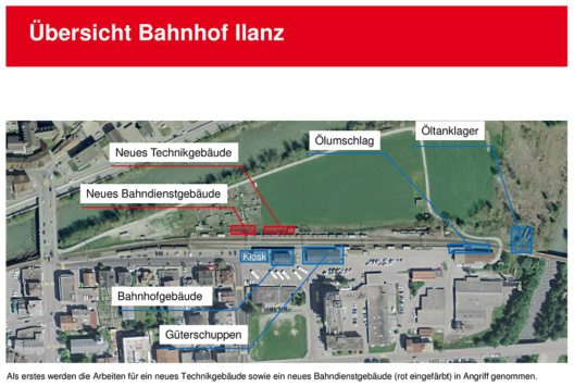 Übersicht Bahnhof Ilanz (Bild: © Rhätische Bahn AG)