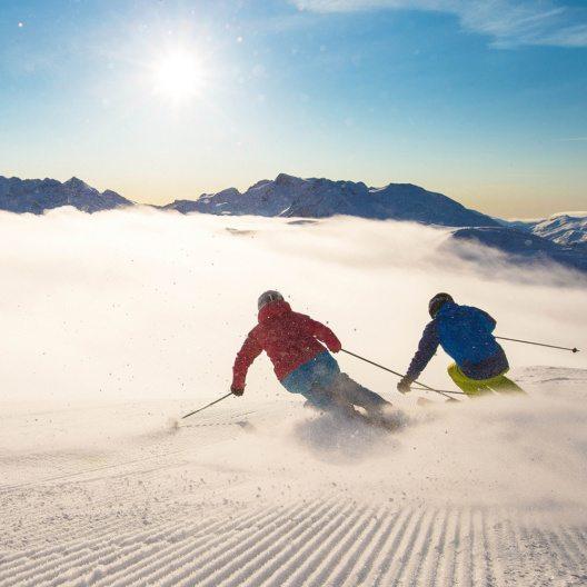 Skifahrer auf Whistler Mountain, British Columbia