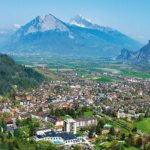 Luftansicht Grand Resort Bad Ragaz und Dorf