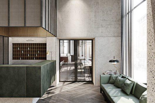 Das Robey Café im Erdgeschoss des Hotels besticht durch sein modernes Industriedesign und dient als Ort der Zusammenkunft.