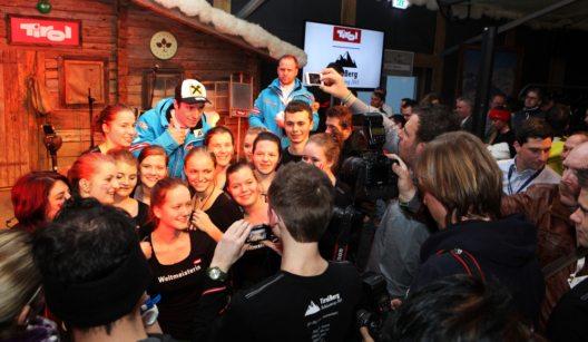 Schon bei der Skiweltmeisterschaft 2013 in Schladming war der TirolBerg Treffpunkt für Skistars, Medien und Wirtschaft (© Tirol Werbung)