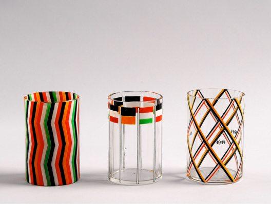 Josef Hoffmann, Kriegsgläser, farbloses Glas, Emaildekor, vor 1916. Ausführung: Johann Oertel, Nový Bor (Haida, CZ), für die Wiener Werkstätte (Bild: © MAK)