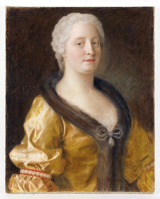 Maria Theresia im pelzbesetzen Kleid. Pastellporträt von Jean Étienne Liotard, um 1743. (Bild: © SKB, Foto J. Wagner, Dauerleihgabe Österreichische Nationalbank)