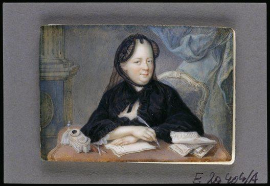 Maria Theresia in Witwentracht an einem Schreibtisch sitzend, Aquarell auf Elfenbein, anonym, um 1770. (Bild: © Österreichische Nationalbibliothek)