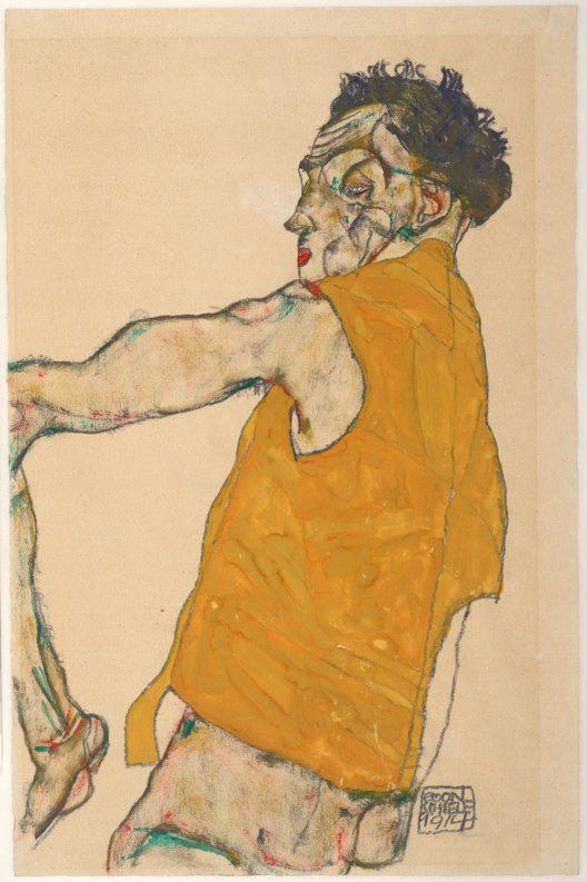 Egon Schiele, Selbstbildnis in gelber Weste, 1914, Bleistift und Deckfarben auf Japanpapier (Bild: © © Albertina, Wien)