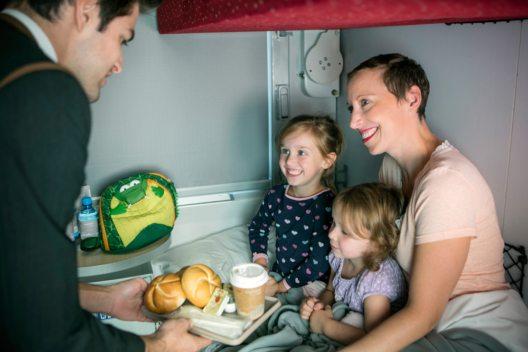 Auch für Familien bietet sich die Anreise in den Winterurlaub per Nachtreisezug an. (Bild: © ÖBB, Eisenberger)