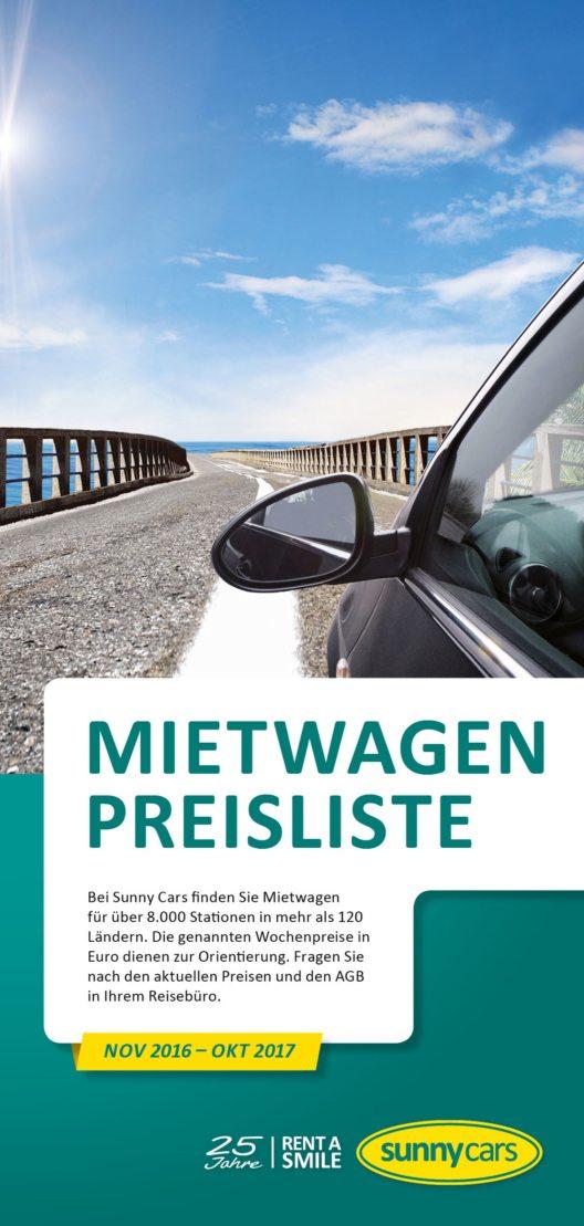 Die neu veröffentliche Preisliste von Sunny Cars (Bild: Sunny Cars GmbH)