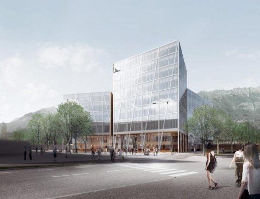 Rendering des künftigen MCI-Campus, Blick von der Kaiserjägerstraße. (Bild: © Loudon, Habeler & Partner ZT)