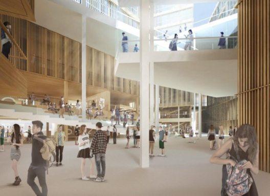 Rendering des Eingangsbereiches (Innenansicht) des neuen MCI-Campus. (Bild: © Loudon, Habeler & Partner ZT)