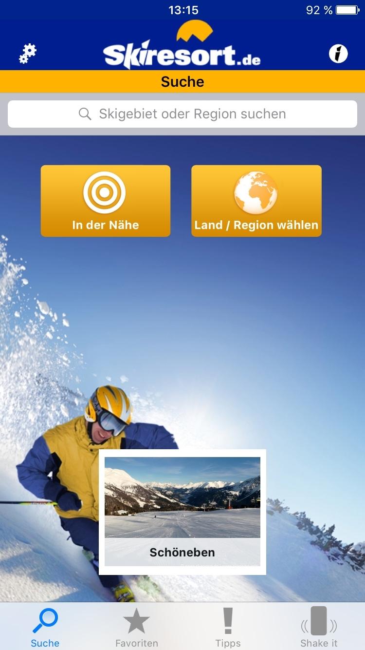 App von Skiresort.de mit vielen Funktionen (Bild: Skiresort.de)