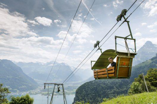 Luftseilbahn Vorder Bärchi – Ober Bärchi: eine von 36 Kleinst-, Gondel- und Standseilbahnen im Urner Seilbahn-Eldorado (Bild: © A. Sanchez)