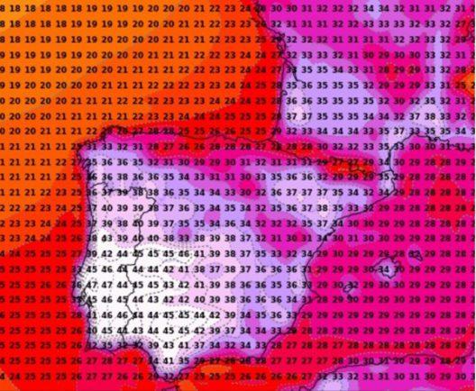 Modellierte Höchsttemperatur für Samstag, 4. August 2018 nach dem amerikanischen GFS-Modell