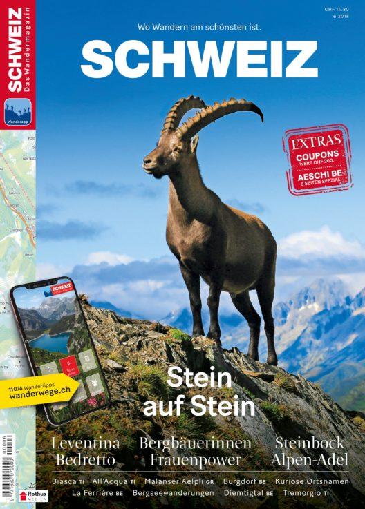 Cover Wandermagazin SCHWEIZ, 6/2018 (Bild: obs/Wandermagazin SCHWEIZ/Toni Kaiser)