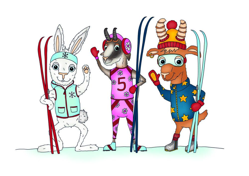 Gämse Gloria und ihre tierischen Freunde zeigen auf der neuen Themenloipe Tipps und Tricks für Langläufer. (Bild: © Larissa Schlegel)